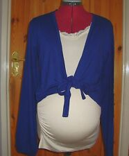 BNWT MATERNITY Ladies Navy Long Sleeved Front Tie Short Cardigan Size M - 12-14