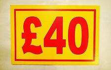 Market Trader £40 Price Correx Sign Board Double Sided & Waterproof