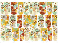 24 WATER SLIDE NAIL ART DECALS * AUTUMN / FALL OWL ASSORTMENT* FULL NAIL COVERS