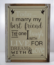 Today I Marry My Best Friend Metal Sign Framed on Rustic Wood, Wedding Gift,  An