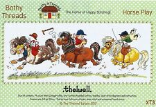 BOTHY THREADS THELWELL HORSE PLAY CARTOON HORSE RACING CROSS STITCH KIT