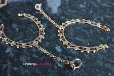 Stunning Ornate Anklets Indian Bride Red Bellydancer Ankle Foot Payal Chain