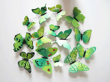Green 12Pcs 3D Butterfly Wall Decals Home Room Curtain Stickers Decorations @W