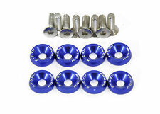 Anodised Aluminium Countersunk Wing Washers With Screws PW JDM Modified Blue