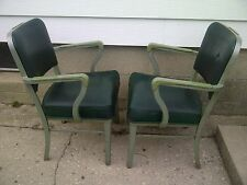(TWO) Mid Century Modern Industrial STEELCASE Green Office Arm Chairs