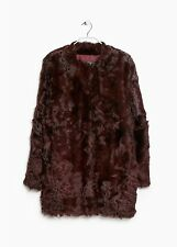 BNWT MANGO MNG RARE OXBLOOD BURGUNDY REAL  SHEEPSKIN FUR COAT S 6 8 10