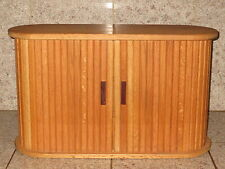 Vintage VHS / DVD Oak Wood Chest Cabinet with Rolling Doors Holds 22