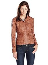 New Lucky Brand Womens Derby Leather Motorcycle Jacket Chocolate Size Large