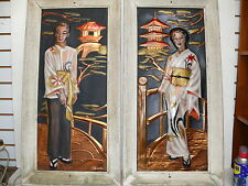 Pair Art Deco CE Pearson Chinese Airbrush Paint on Copper Wall Plaques Paintings