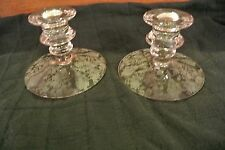 Two Short Cambridge Clear Rose Point Candle Holders