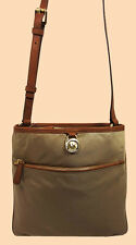 MICHAEL KORS KEMPTON Dusk Nylon & Brown Leather Pocket LG X-Body Bag Msrp $98