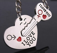 """2PCS/Set Couples Lovers Metal Key Chain Ring """"Key To My Heart"""" I LOVE YOU Silver"""