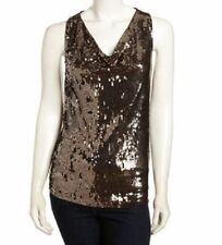 NWT MICHAEL KORS XL SEQUIN TOP BLOUSE SHIRT GOLD BROWN  SLEEVELESS $130