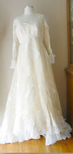 VINTAGE PICCIONE SHEER TULLE LACE PEARLS LINED IVORY WEDDING GOWN FORMAL DRESS