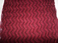 BEAUTIFUL ZIG ZAG RED & SPARKLY KNITTED ACRYLIC FRINGED SCARF OR worn as SNOOD