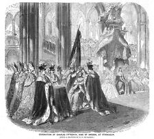 SWEDEN Coronation of King Charles Fifteenth at Stockholm - Antique Print 1860