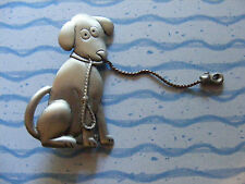 VINTAGE JJ COMICAL PUPPY DOG WITH LEASH IN HIS MOUTH PIN BROOCH PEWTER SIGNED