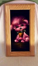 "Vintage Velvet painting- Dog pic...SIGNED-""NAVA"" on front, no date-Wood frame"