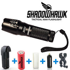 Genuine SHADOWHAWK X800 Tactical Flashlight LED Zoom Military Torch G700