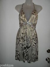 Sky Clothing Brand S Dress Rhinestone Crystal Gold Metallic Floral Spring Club