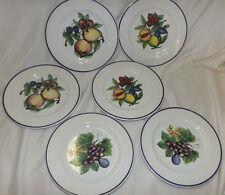 """TRE CI Made in Italy 6 Pie Dessert Salad Plates - Fruits 8 1/2"""""""