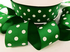 "5 yards Kelly Green/white Grosgrain 1.5"" Ribbon 38mm Wide POLKA DOTS/Craft R20-X"