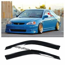 For 01-05 Honda Civic 2Dr Coupe Smoke Tinted JDM Side Window Visors Rain Guard