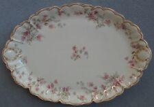 Haviland Schleiger 91 Pink Floral Round Large 16 Inch Oval Platter Gold Trim