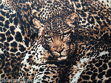 Collage De Leopardo tela de algodón Metros Robert Kaufman Wild Cat Animal Print 1m