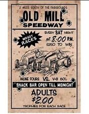 """""""Old Mill Races"""" New METAL """"Garage Decor"""" Sign"""