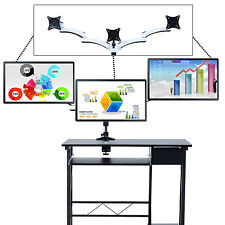 Homcom ordinateur de bureau support moniteur pivotant réglable triple 3 position stand