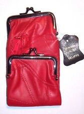 Woman's Red Patch Leather Cigarette Case / Wallet / Coin Purse by Eclipse