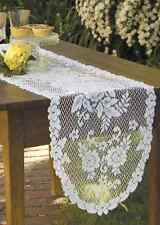 "Heritage Lace White VICTORIAN ROSE 13""x45"" Table Runner"