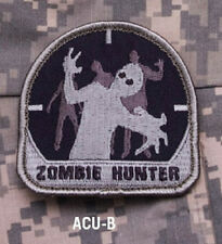 Patch Morale - ZOMBIE HUNTER - ACU-B - Gray background with Black Eyes