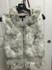 Jessica Simpson Faux Fur Knitted Vest with hood Size Medium