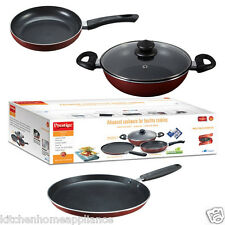 Prestige Non-Stick Cookware Set PRESTIGE OMEGA DELUX 3 Pcs for your kitchen !!
