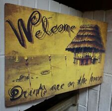 LIGHTED FLICKER FLAME TIKI TORCH Tropical Beach Bar Hawaii Canvas Decor Sign NEW
