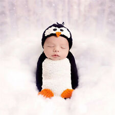 Crochet Newborn Photography Boys Girls Knit Penguin Hat Infant Baby Photo Prop