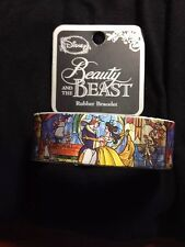 "NEW Disney Belle Beauty and The Beast Stained Glass 1"" Rubber Bracelet Wristband"