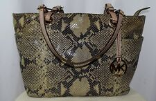 MICHAEL MICHAEL KORS Python Snake Emboss Leather Large Tote Travel Shoulder Bag