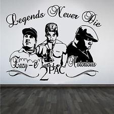 2Pac Tupac Eazy-E Notorious B.I.G. rappers Hip Hop Leyendas Hazlo tú mismo Pared Arte Pegatina/D