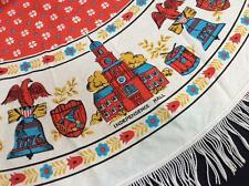 """vintage round tablecloth 56"""" Philadelphia Independence Hall Liberty Bell fabric"""