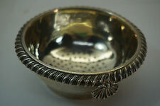ANTIQUE STERLING SILVER TEA STRAINER BOWL ENGLISH WR HALLMARK SHELL HANDLE