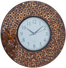 """Lulu Decor, 19"""" Amber Flower Mosaic Wall Clock Black Cement (LP75)"""