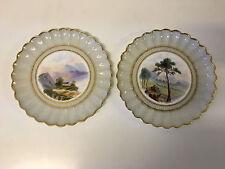 Antique English Pair WT Copeland Spode Plates Painted Landscape Dec. Grey Border