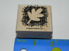 Stampin Up Single Rubber Stamp - Sketch Scratch - Leaf Print (Fall Reverse Print