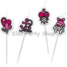 Pink Pirate Birthday Party - 4 Mini Pick Cake Candles - Free Postage in UK