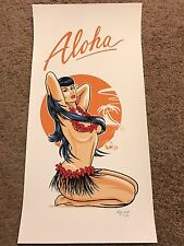 "Aloha Girl Lady Woman Pin-Up Art Print Poster Mondo Kray Sudderth Hawaii 10""x20"""