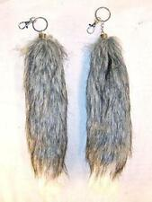 GREY / WHITE FOX TAIL KEY CHAIN mens womens car mirror keys ring fur tails FOXES