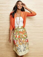 NEW $129 TALBOTS Orange Tropical Flowers Linen,Cotton Skirt Sz 4P,4 Petite